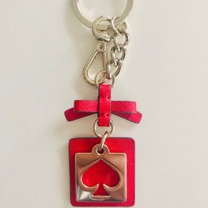 Kate Spade Red Cutout Heart Bow Key Chain NEW Fob